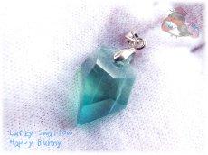 画像3: 📜 コード選択式 宝石質 結晶 ブルー グリーン フローライト ネックレス No.3390 (3)