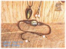 画像3: 掘り出し物セット♪ ラブラドライト リバーストーン:マクラメ ネックレス ブレスレットセット No.3479 (3)