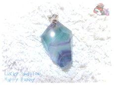 画像2: コード選択式 パキスタン産 不思議な色のブルーフローライト ネックレス ペンダント No.3572 (2)