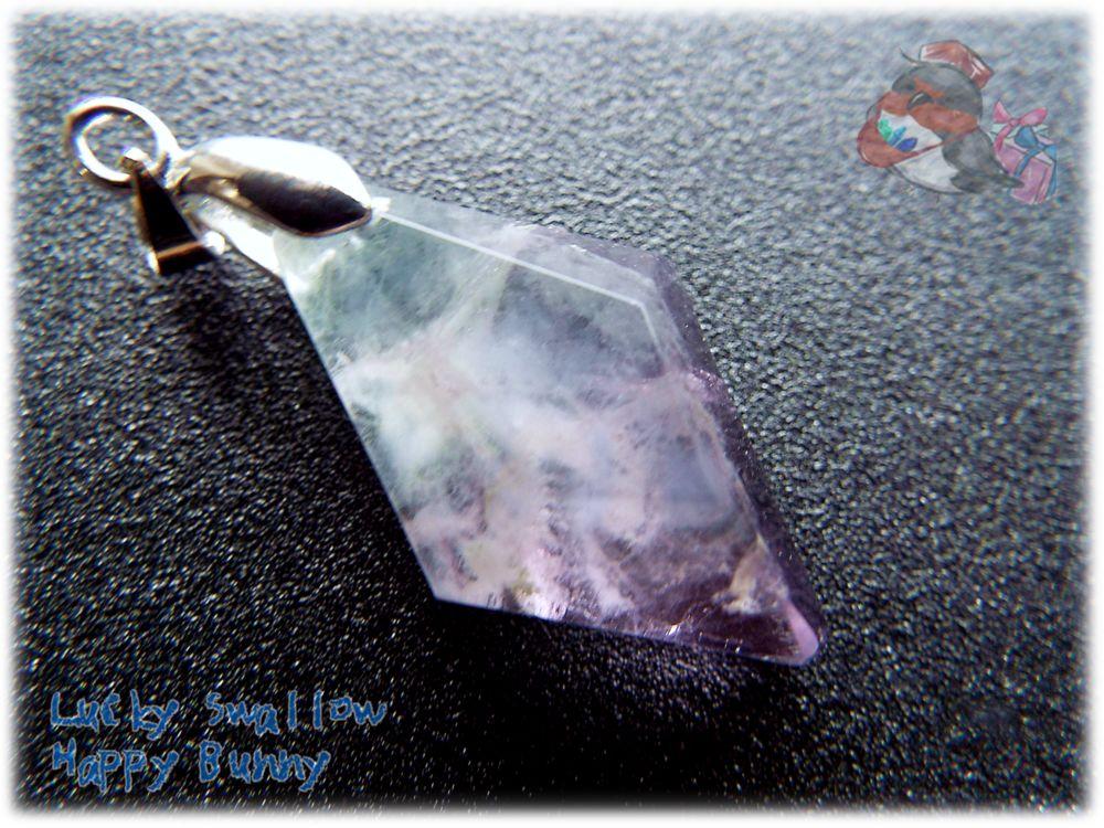 画像1: 📜 特級品 コード選択式 宝石質 結晶 パキスタン産 パープル ブルー バイカラー フローライト ネックレス フェザーインクルージョン No.3393 (1)