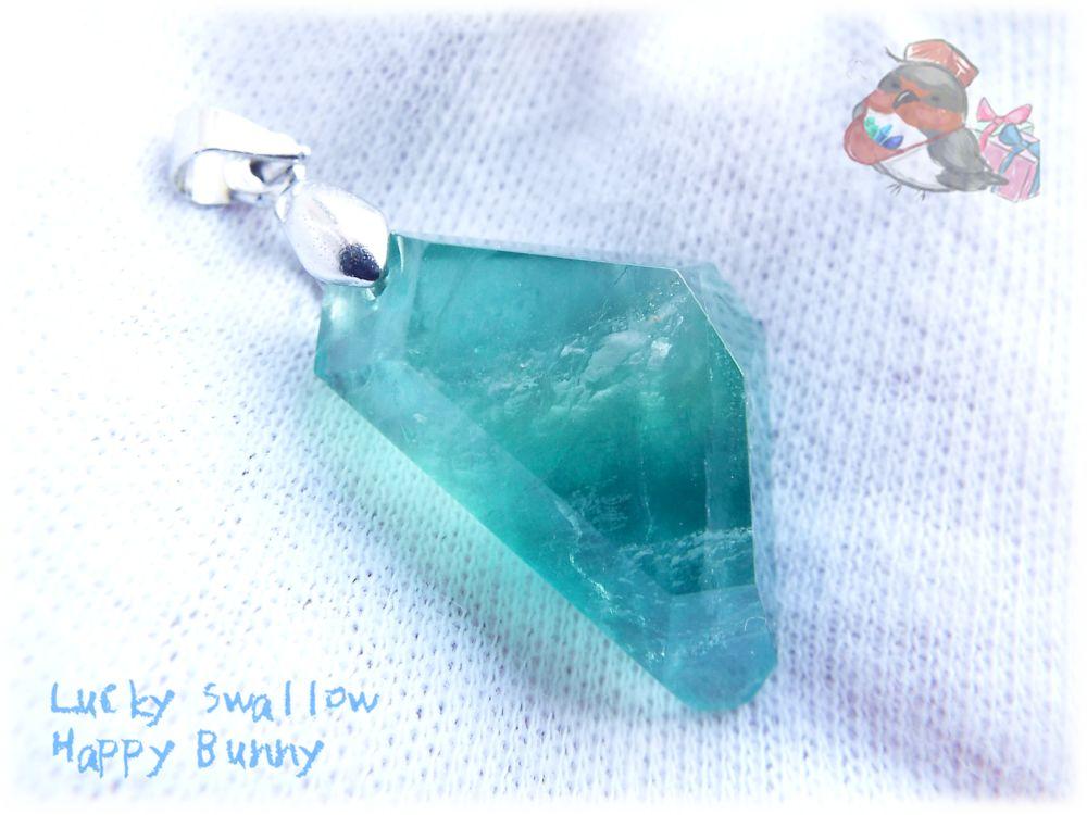 画像1: 📜 特級品 コード選択式 宝石質 結晶 パキスタン産 エメラルドグリーン ブルー バイカラー グラデーション フローライト ネックレス No.3395 (1)
