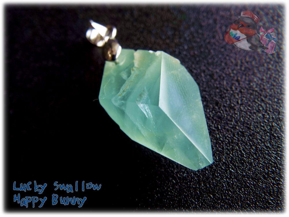 画像1: 📜 2WAY リバーシブル コード選択式 宝石質 結晶 ブルー グリーン フローライト ネックレス ペンダント No.3396 (1)