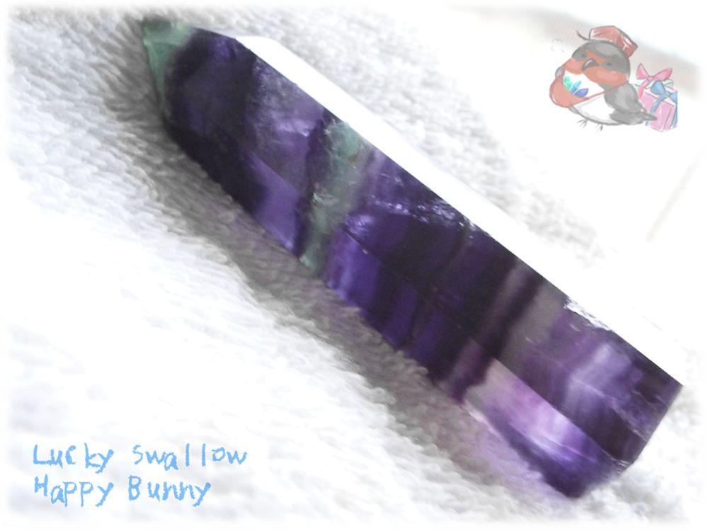 画像1: パープルフローライトポイント 氷柱 断面 標本 ルース素材にも♪(フルオライト:蛍石:螢石:Fluorite) No.3410 (1)