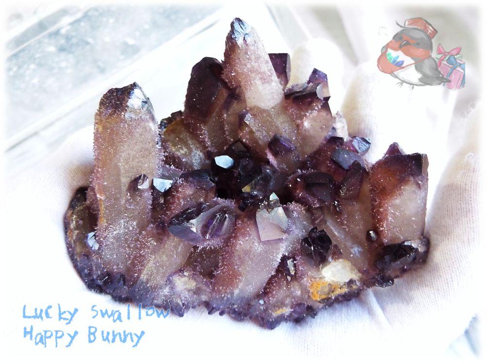 画像1: 半人工結晶 水晶クラスター 標本 原石(別名:亜水晶 再生クリスタル アメシスト 紫水晶) No.3416 (1)
