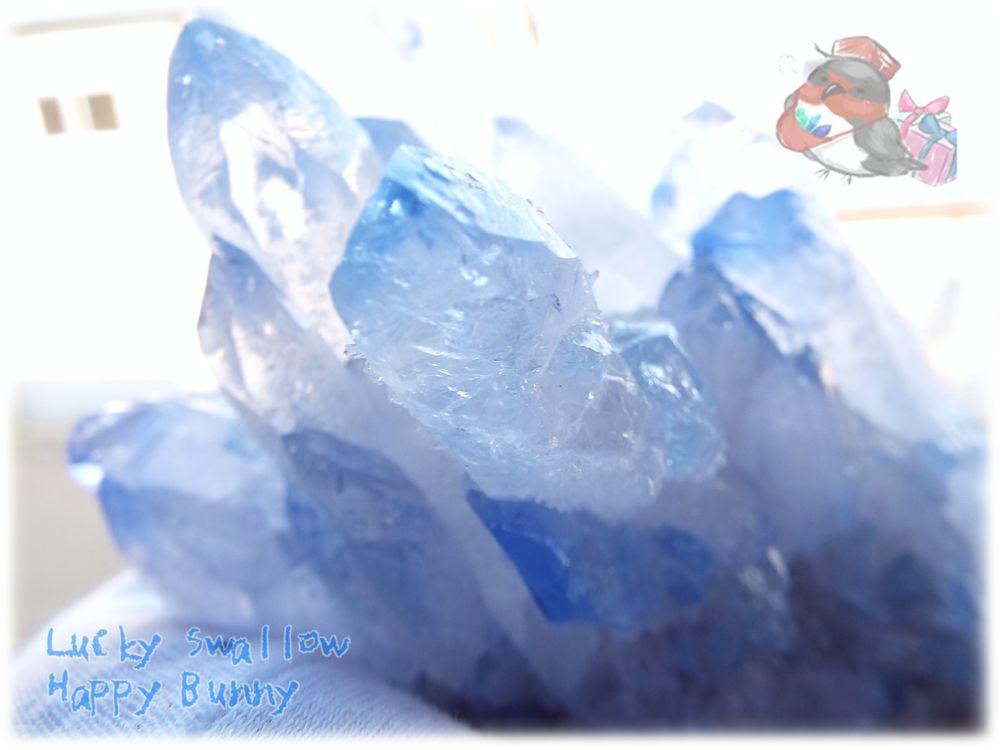 画像1: 大型 半人工結晶 青水晶クラスター 標本 原石(別名:亜水晶 再生クリスタル 水晶) No.3418 (1)