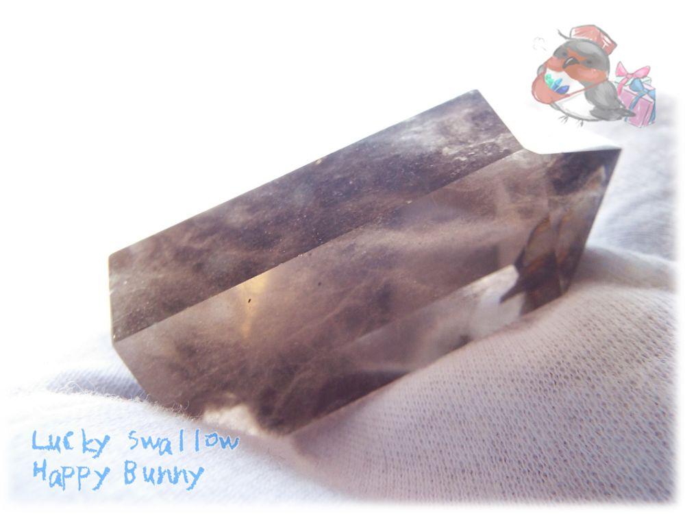 画像1: 煙水晶(けむりすいしょう)スモーキークォーツポイント 氷柱 原石 断面 標本 ルース素材にも♪No.3432 (1)