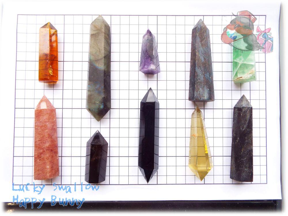 画像1: 大特価ポイント10点セット フローライト ストロベリークォーツ シトリン ラブラドライト アストロフィライト アメジスト スモーキークォーツ オブシディアン 氷柱 断面 標本 No.3433 (1)
