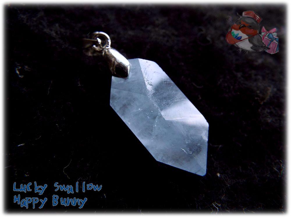画像1: 希少品 マダガスカル産 結晶 セレスタイト ネックレス ペンダント コード選択式(別名 天青石 celestite ) No.3449 (1)