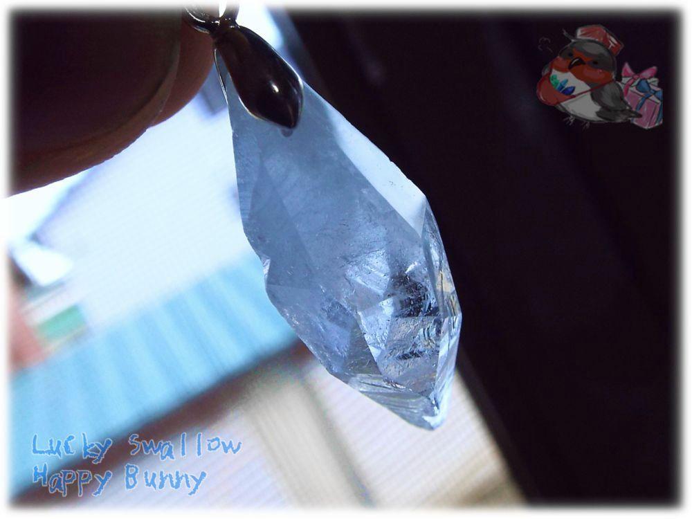 画像1: 希少品 結晶 マダガスカル産 結晶 セレスタイト ネックレス ペンダント コード選択式(別名 天青石 celestite ) No.3455 (1)