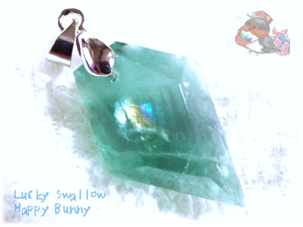 画像1: コード選択式 虹入り アフガニスタン産 ブルーグリーンフローライト ネックレス ペンダント No.3463 (1)