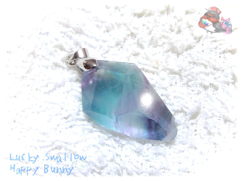 画像1: コード選択式 パキスタン産 不思議な色のブルーフローライト ネックレス ペンダント No.3572 (1)