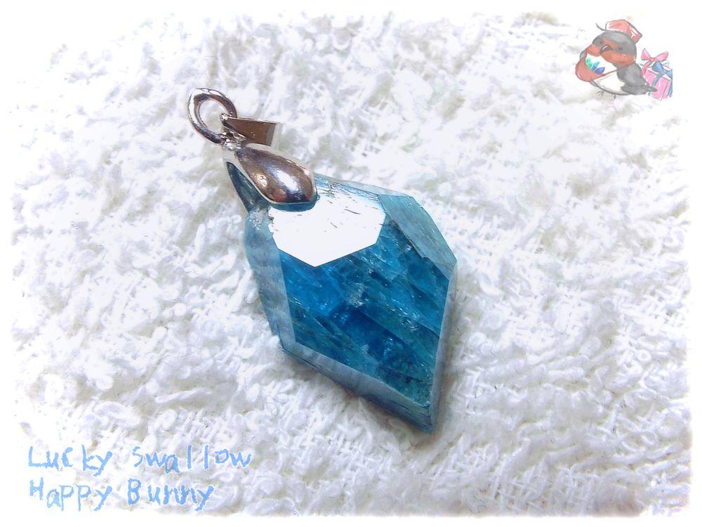 画像1: コード選択式 非加熱 非トリートメント ブルーアパタイト ネックレス ペンダント ( 燐灰石 apatite )No.3577 (1)