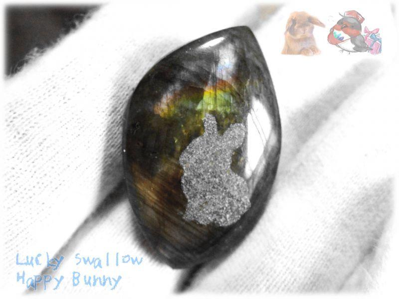 画像1: うさちゃんカービングルース ラブラドライト 兎 ウサギ 兔 うさぎ  No.3854 (1)