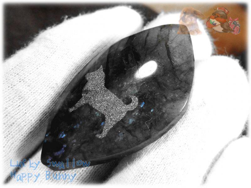 画像1: わんちゃんカービングルース ラブラドライト 犬 イヌ ドック  No.3860 (1)