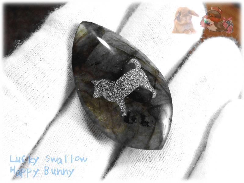 画像1: わんちゃんカービングルース ラブラドライト 犬 イヌ ドック  No.3861 (1)